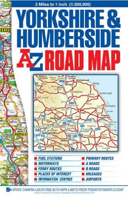 Geographers A-Z Map Co. Ltd.-Yorkshire & Humberside Road Map NEW