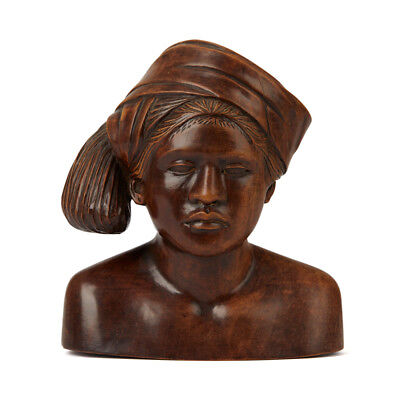 Vintage Indonesian Balinese Carved Wooden Bust Early 20Th C
