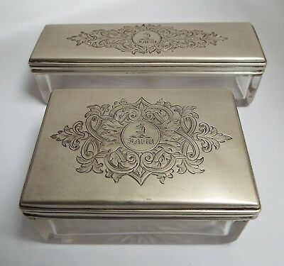 Two Handsome English Antique Victorian 1849 Sterling Silver & Glass Table Boxes