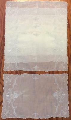 Set of 6 Antique White Linen Pina placemats silk embroidered lace French Italian