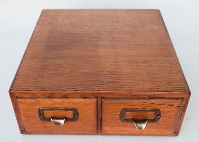 Vintage Tiger Oak File Card Cabinet Index Box 2 Drawer With Partitions 1940'S