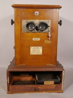 ANTIQUE French Le Taxiphote Large Glass Slide Table Stereoviewer or STEREOSCOPE
