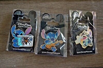 Disney Trading Pin Lot of 3 Lilo and Stitch Spider Guitar Ice Cream Trouble