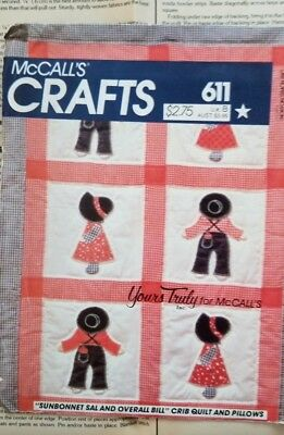 McCall's 611 VTG UC Sunbonnet Sal Overall Bill Applique quilt Sewing Pattern OOP