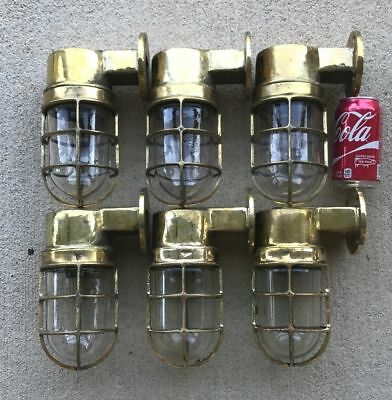 Set Of 6 Antique Cast Brass Nautical Wall Mounted Ship's Lights