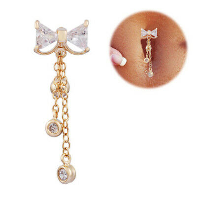 Navel Belly Button Rings Bowknot Dangle Bar Barbell Body Piercing Jewelry S