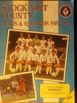 STOCKPORT COUNTY v MOSSLEY,21.11.81.FA Cup 1st round