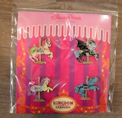 "Disney Parks 2017 ""Kingdom Carousel"" Horses 4-Pin Booster Pack Set (NEW/SEALED)"