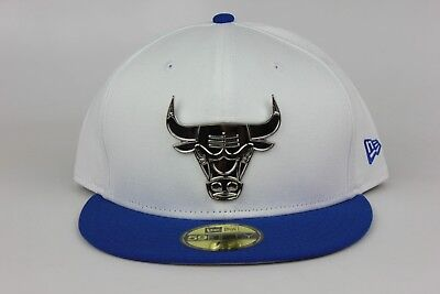 4f53b2f7bf9 Chicago Bulls White Royal Blue Silver Metal Badge New Era 59Fifty Fitted Hat  Cap