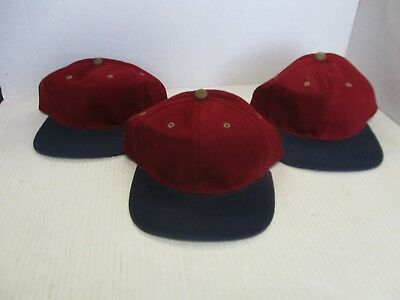Lot Of 3-New Vintage Dark Red/maroon Caps/hats-Navy Bill-Hook-6 Panel-Oc[3162