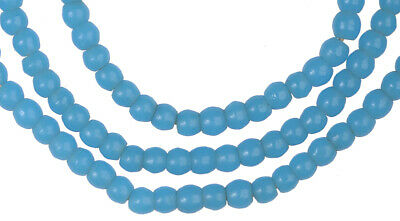 Old Bohemian Czech blue prosser molded glass beads African trade Ghana necklace