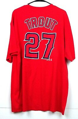 787d1ff55bc LOS ANGELES ANGELS TROUT #27 MLB Red Name/Number Player T-Shirt ...