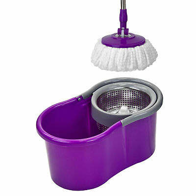 Purple Floor Mop Bucket Microfiber Spinning Easy Magic Spin 2 Head Rotating 360°