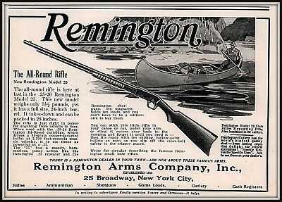1925 B Ad  Remington All Round Rifle Canoe Model 25 Slide Action Repeating .32
