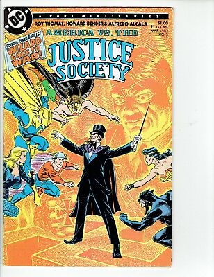AMERICA VS THE JUSTICE SOCIETY #3 DC Comic 1985 FN-  The Wizard Goes To War