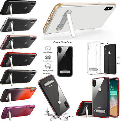 For iPhone XS Max Clear Hybrid Hard Kickstand Case Phone Cover + Screen Guard