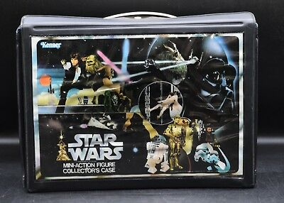 Original 1978 Vintage Star Wars Vinyl Action Figure Storage Case Kenner W/  Trays