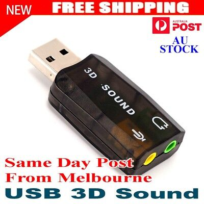USB to 3D AUDIO SOUND CARD EXTERNAL ADAPTER VIRTUAL 5.1 CH MIC HEADPHONE