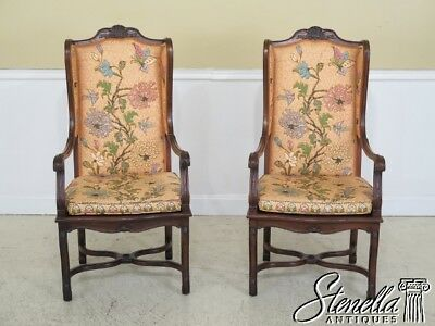 45425EC: Pair HEKMAN Country French Open Arm Wing Chairs