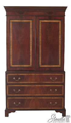 45984EC: English Mahogany 2 Door Lined Linen Press Armoire Cabinet
