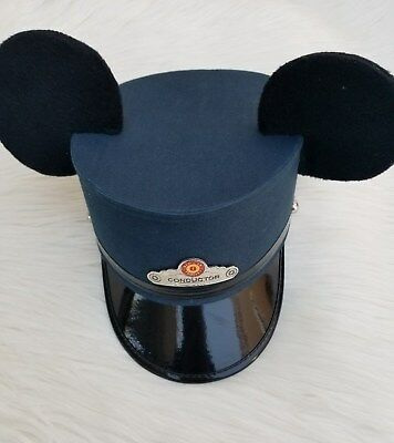 Disney Parks Mickey Mouse Ears Train Trolley Conductors Hat Blue