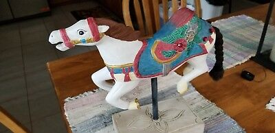 Wooden Carousel Horse, Jeweled with Braded Tail