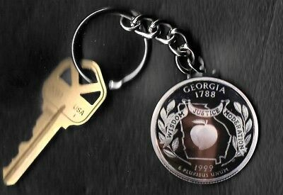 State of GEORGIA Quarter Keychain Key Chain Image is 60% larger than quarter