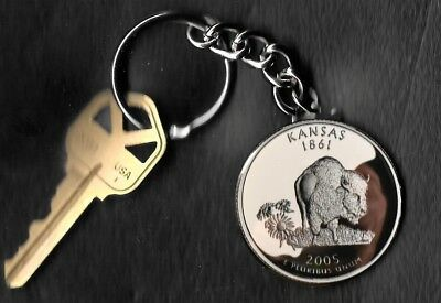 State of KANSAS Quarter Keychain Key Chain Image is 60% larger than quarter