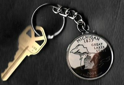 State of MICHIGAN Quarter Keychain Key Chain Image is 60% larger than quarter