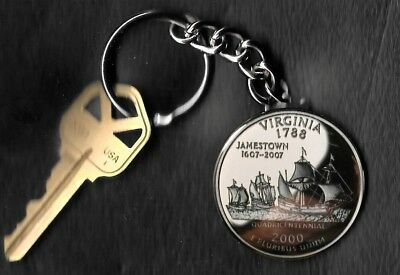 State of VIRGINIA Quarter Keychain Key Chain Image is 60% larger than quarter