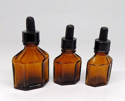 VTG ANTIQUE LOT 3 Amber Glass Bottles with Glass Eye Droppers 15ml & 30 ml A-1