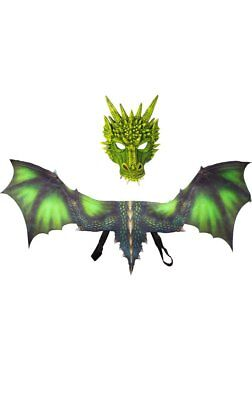 Dragon Kid's Green Halloween Mask And Wings Costume Accessory Set - New
