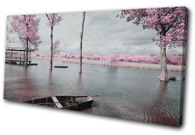 Lake Tree Blossom Pink Sunset Seascape SINGLE CANVAS WALL ART Picture Print