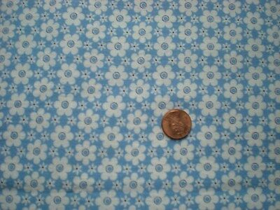 FLORAL on BLUE Vtg FEEDSACK Quilt Sewing Doll Clothes Craft Cotton Fabric