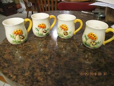 Vintage Merry Mushroom Coffee Mugs Cups Sear Roebuck Set of 4