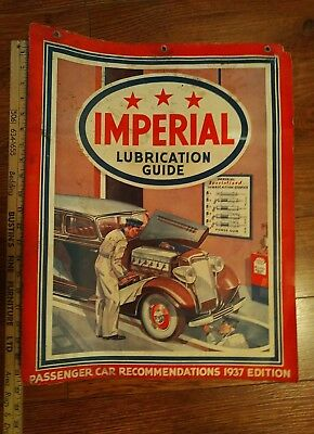 RARE. Imperial Oil 1937 Lubrication Guide Wall Chart  1937 for Passenger Cars