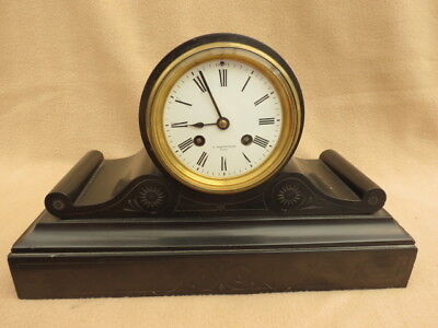 Antique French Japy Striking Drum Head Slate Mantel Clock For Restoration