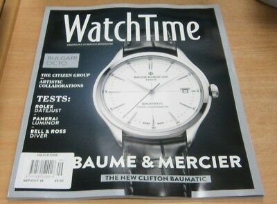 WatchTime magazine Sep/Oct 2018 Baume & Mercier Clifton Baumatic + Bulgari Octo