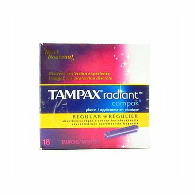 Tampax Radiant Compak Plastic Unscented Tampons, Regular Absorbency, 18 Count