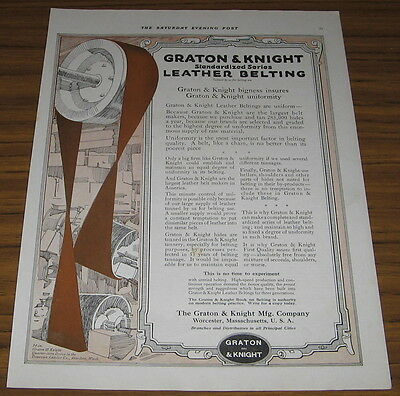 1917 Vintage Ad Graton & Knight Leather Belting for Manufacturing Worcester,MA