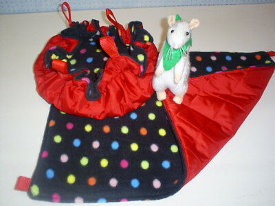 (Small) HANGING BED +  HAMMOCK   (Pet Rats )--(Red Nylon quilted/Spotty Fleece)