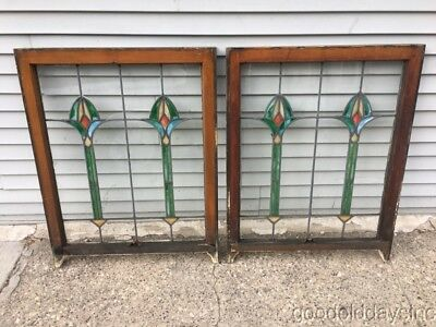 """Pair of Antique Stained Leaded Glass Windows 36"""" by 28"""" Circa 1910"""