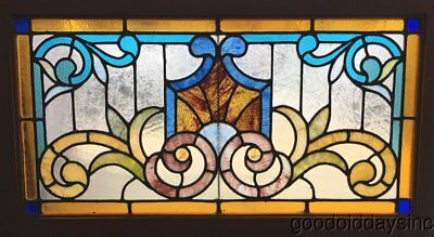 """Antique Victorian Stained Leaded Glass Transom Jeweled Window 32"""" by 18"""" Chicago"""