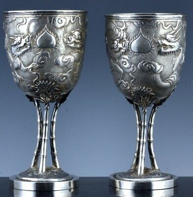 Rare & Large Pair 1890 Chinese Sterling Silver Dragon Chalice Cup Vases Wing Nam