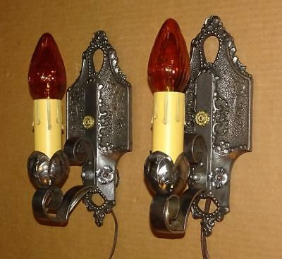 Vintage Ornate 1920's 1930's Art Deco Wall Sconces Antique Wall Lighting Pair #2