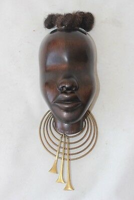 hagenauer art deco signed made in wien stamped mask wood wooden brass wool