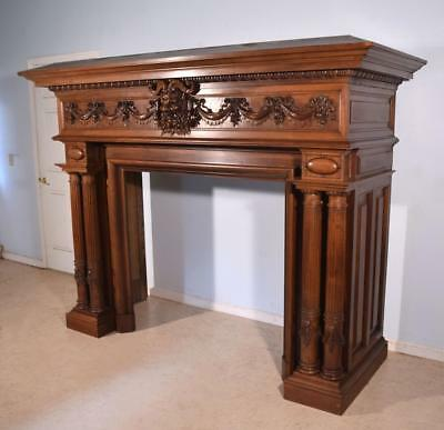 Antique French Fireplace Surround/Mantle in Walnut with Baccus or Devil