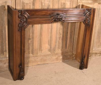 Antique French Louis XV Style Fireplace Surround/Mantel in Walnut