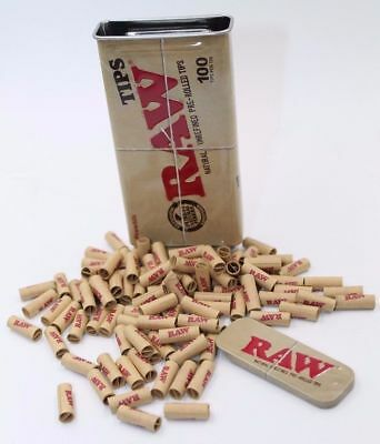 "100 Tips RAW Pre Rolled TIPS IN A KING SIZE Slide Top Storage TIN ""RAWthentic"""