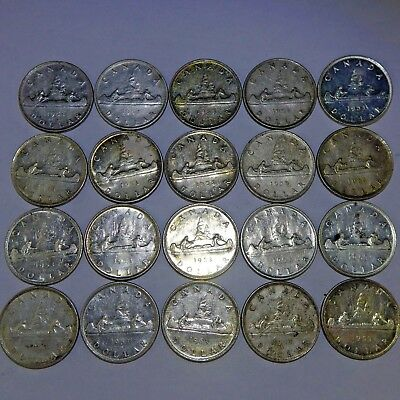 Lot of 20 (1 Roll) 1953 Canada Silver Dollars - 80% SILVER - VF-AU Condition!
